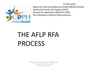 AFLP RFA Teleconference Agenda Introduction General Program Information