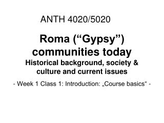 Roma (�Gypsy�) communities today Historical background, society & culture and current issues