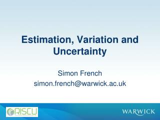 Estimation , Variation and Uncertainty
