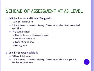 Scheme of assessment at as level