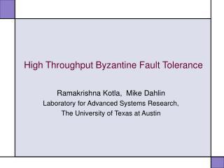 High Throughput Byzantine Fault Tolerance