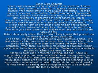 Expectations for Dance Class