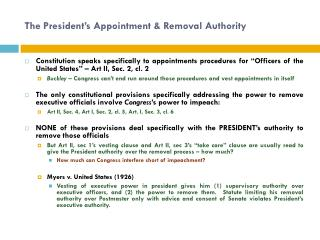 The President's Appointment & Removal Authority
