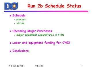 Run 2b Schedule Status