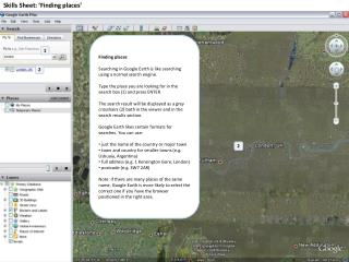 Skills Sheet: �Finding places�
