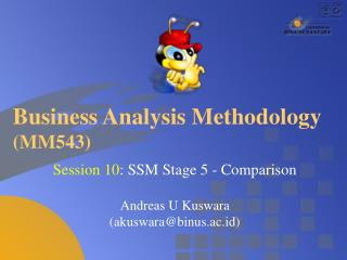 Business Analysis Methodology  (MM543)