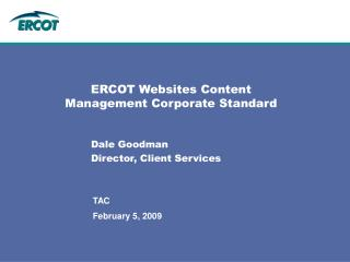 ERCOT Websites Content Management Corporate Standard