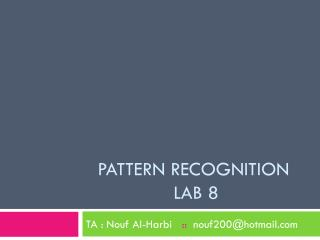Pattern recognition  lab 8