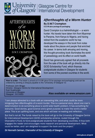 Afterthoughts of a Worm Hunter By D.W.T Crompton £12.99 plus postage & packaging