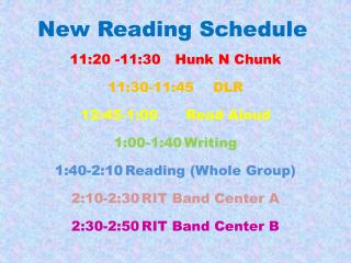New Reading Schedule