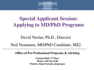 Special Applicant Session:   Applying to MD