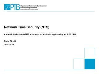 Network Time Security (NTS)