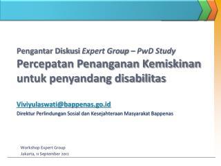 Pengantar Diskusi  Expert Group – PwD Study