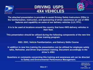 DRIVING  USPS     4X4 VEHICLES