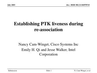 Establishing PTK liveness during  re-association