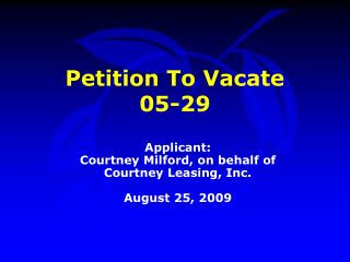Petition To Vacate  05-29