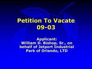 Petition To Vacate  09-03