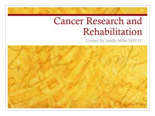 Cancer Research and Rehabilitation
