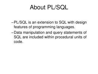 About PL/SQL