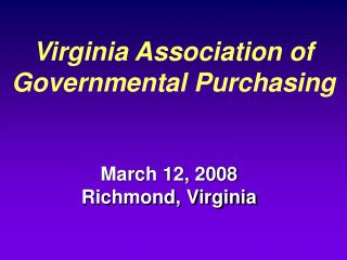 Virginia Association of Governmental Purchasing