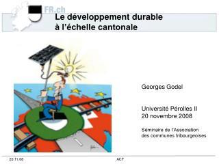 Le développement durable  à l'échelle cantonale