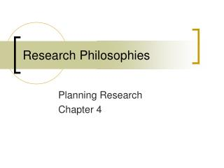 Research Philosophies