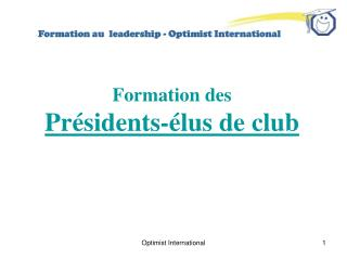 Formation au  leadership - Optimist International