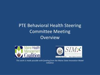 PTE Behavioral Health Steering Committee Meeting Overview