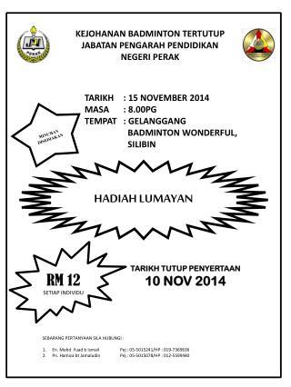 TARIKH : 15 NOVEMBER 2014 MASA : 8.00PG