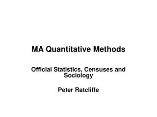 MA Quantitative Methods