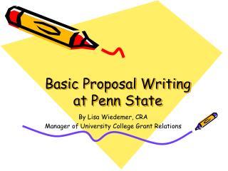 Basic Proposal Writing at Penn State