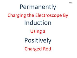 Permanently Charging the Electroscope By  Induction Using a  Positively  Charged Rod