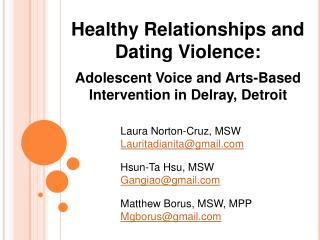 Healthy Relationships and Dating Violence: