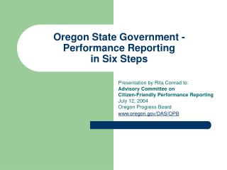 Oregon State Government - Performance Reporting in Six Steps