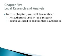 Chapter Five Legal Research and Analysis