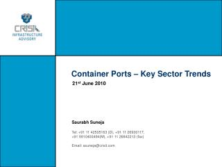 Container Ports � Key Sector Trends