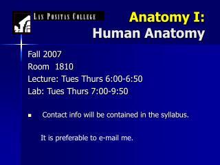 Anatomy I: Human Anatomy