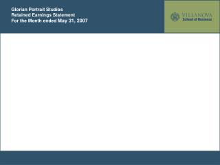 Glorian Portrait Studios Retained Earnings Statement For the Month ended  May 31, 2007