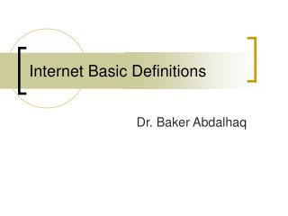 Internet Basic Definitions