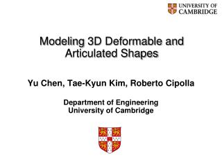 Modeling 3D Deformable and Articulated Shapes
