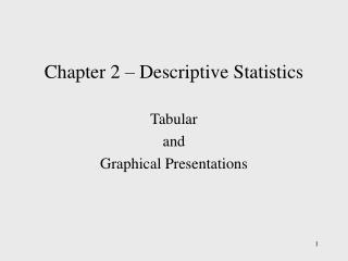 Chapter 2 – Descriptive Statistics
