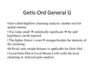 Getis-Ord  General G