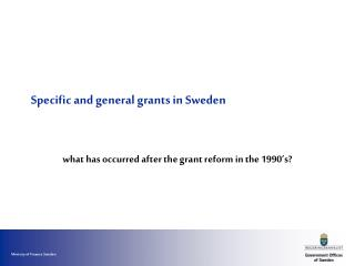 Specific and general grants in Sweden