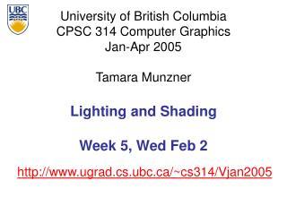 Lighting and Shading Week 5, Wed Feb 2