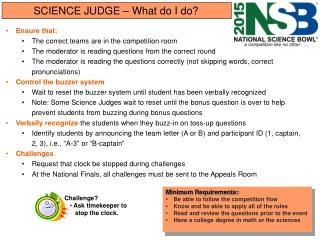 SCIENCE JUDGE – What do I do?