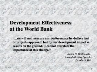 Development Effectiveness at the World Bank