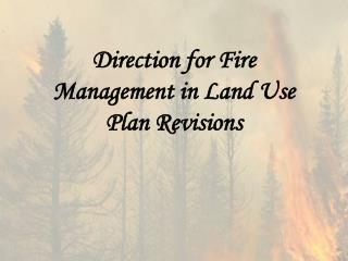 Direction for Fire Management in Land Use Plan Revisions