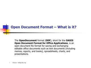 Open Document Format – What is it?