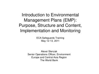 ECA Safeguards Training May 12-13, 2011