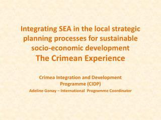 Crimea Integration and Development Programme (CIDP)